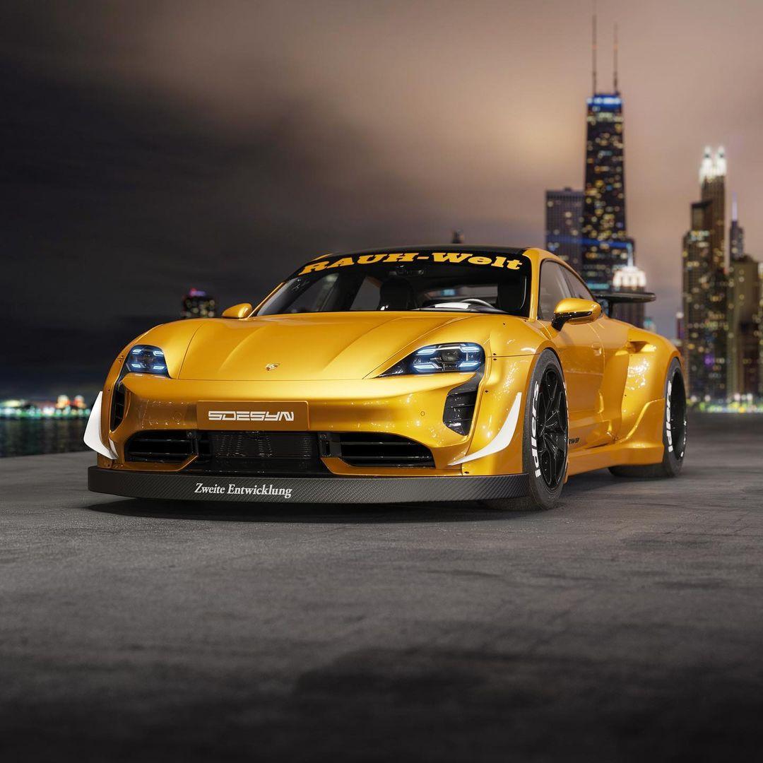 Porsche Taycan Rendering Gets RWB Widebody Kit and NFS Underground Vibes