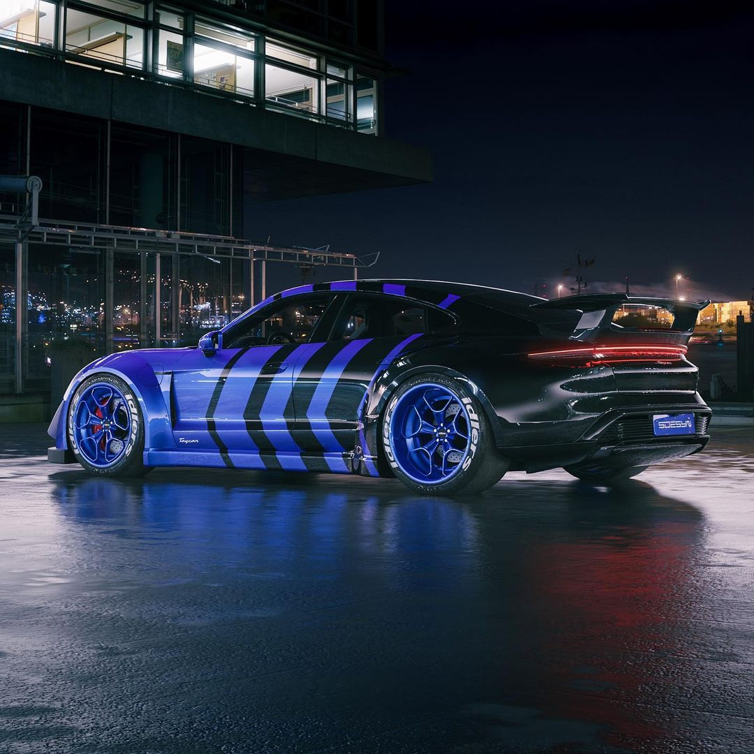 photo of Porsche Taycan RWB Probably Can't Decide If Blue or Black Pleases Akira Nakai image