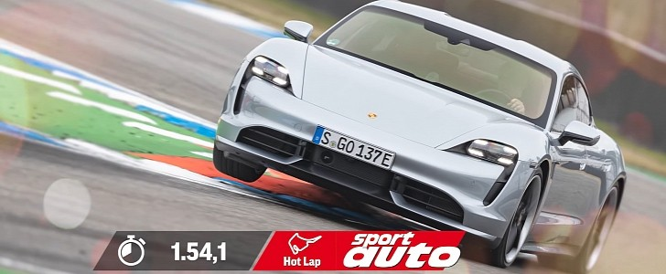 Porsche Taycan Turbo Silently Fights the Hockenheim, Laps It Faster Than GT500