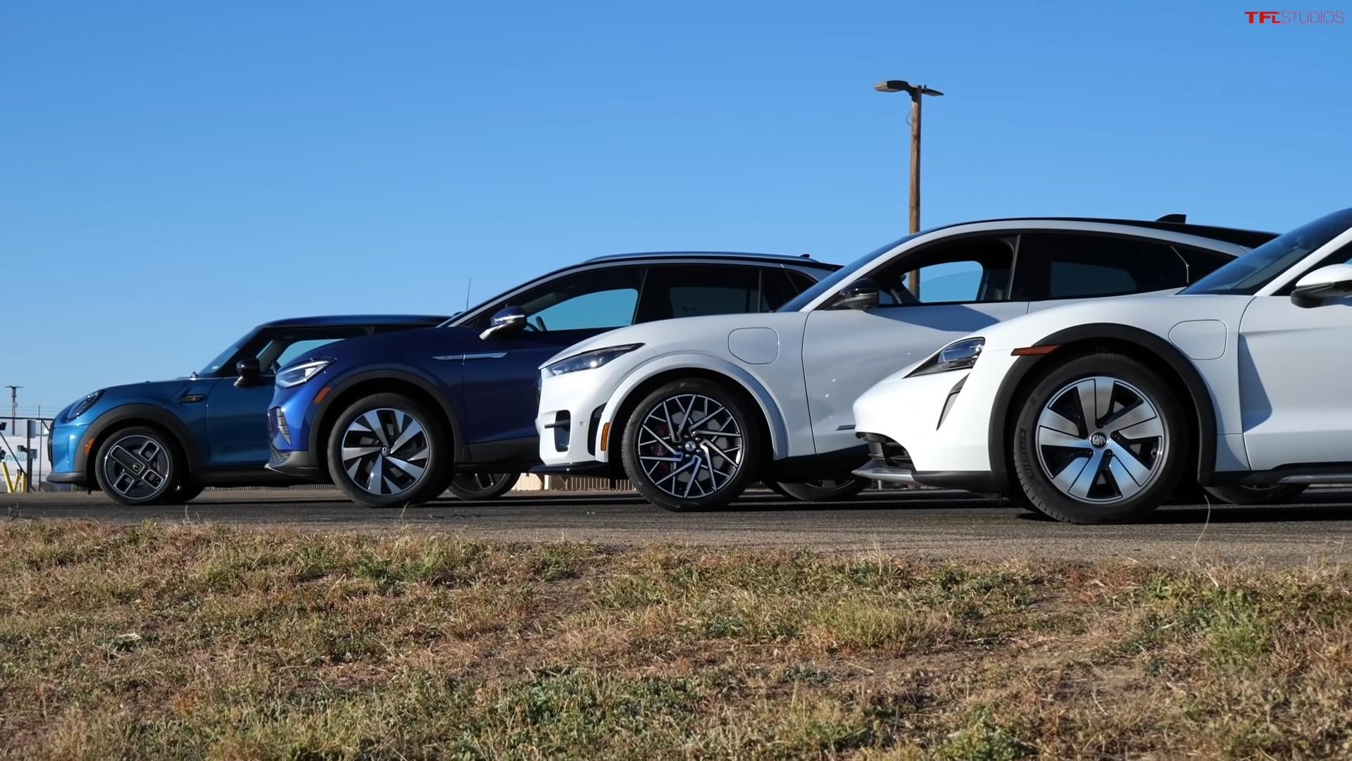 Porsche Taycan vs. Mach-E vs. ID.4 vs. Cooper SE Acceleration Test Yields Obvious Winner