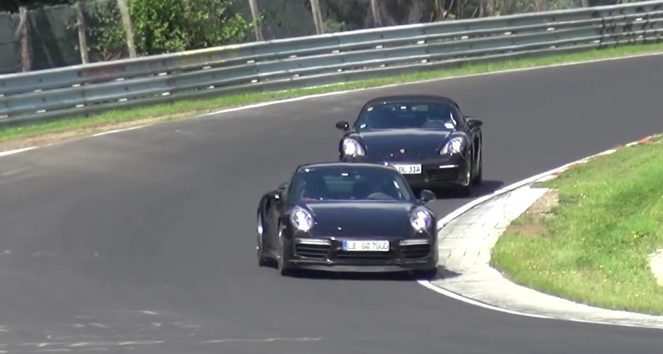 porsche testing 2017 boxster 2016 911 together on nurburgring see handling. Black Bedroom Furniture Sets. Home Design Ideas