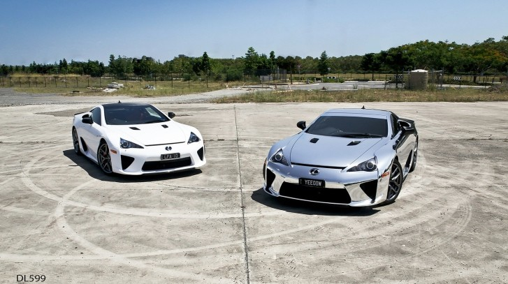 Pure White and Chrome Wrapped Lexus LFAs Posing Together [Photo Gallery]