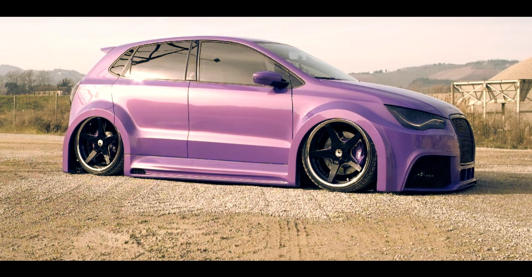 purple polo 6r with audi a1 kit and lambo doors looks. Black Bedroom Furniture Sets. Home Design Ideas