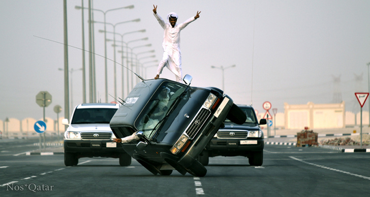 Qatar Driving Beats Gymkhana with Skateboard Car on Two Wheels