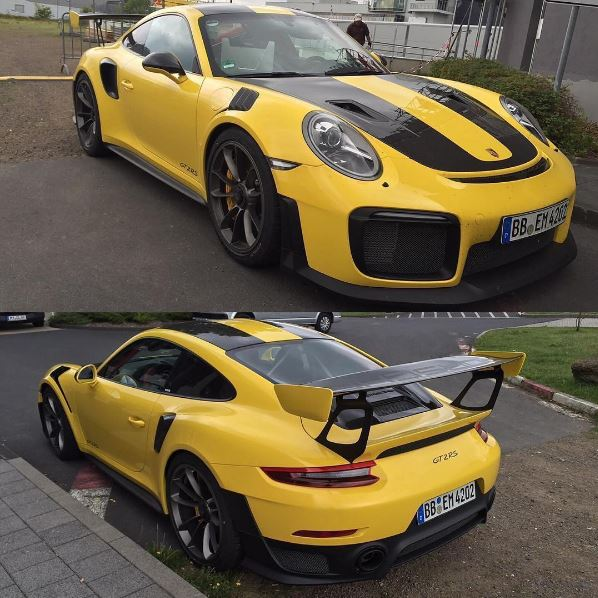 racing yellow 2018 porsche 911 gt2 rs has more sting than. Black Bedroom Furniture Sets. Home Design Ideas