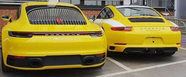 Racing Yellow 992 Porsche 911 Photographed Next to 911 Carrera T Looks Brilliant