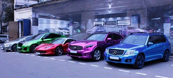Rainbow of Chromed Cars Is Psychedelic