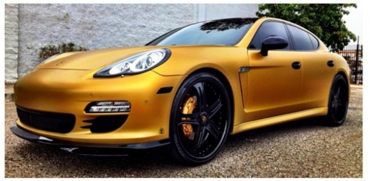 Rapper The Game Gives His Porsche Panamera Matte Gold Wrap