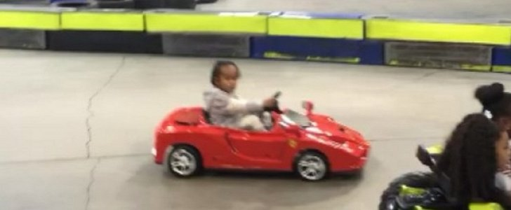 Rapper Tyga's Son Drives a Ferrari Toy Car on His 3rd ...