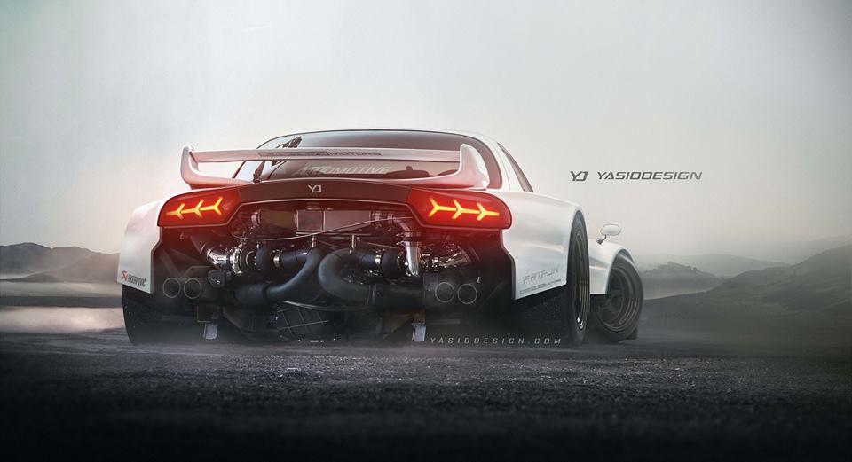 Rear-Engined Mazda RX-7 Packs Twin-Turbo Lamborghini V10 ...