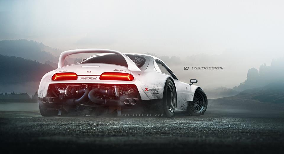 Rear Engined Toyota Supra Has Twin Turbo Lamborghini V10