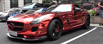 Red Chrome Mercedes SLS Spotted in London [Video]