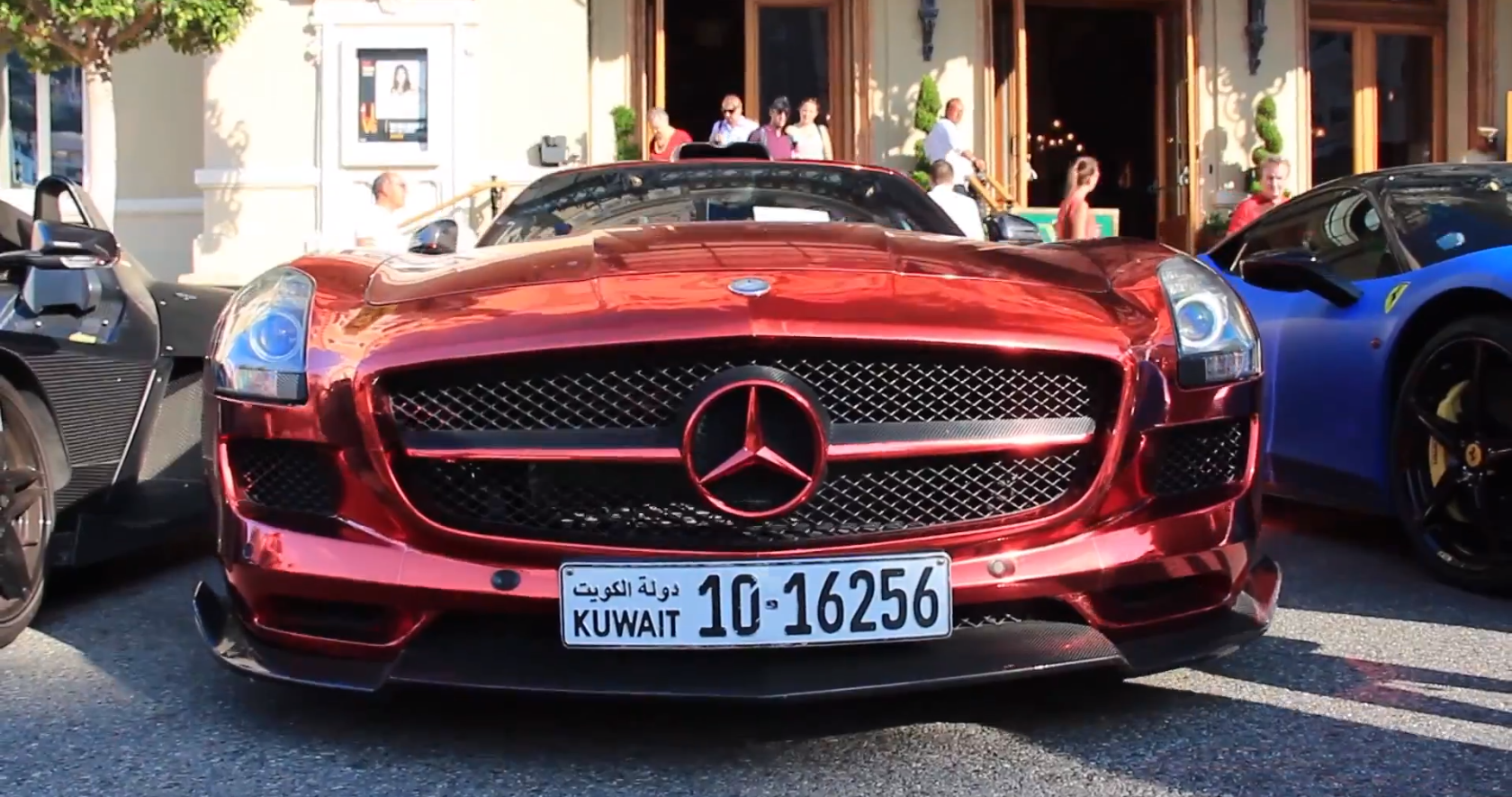 Red chrome sls amg drops jaws all around europe for Mercedes benz sls amg red