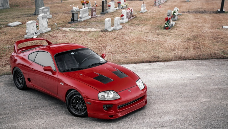 Renaissance Red Toyota Supra Posing In A Weird Location Autoevolution
