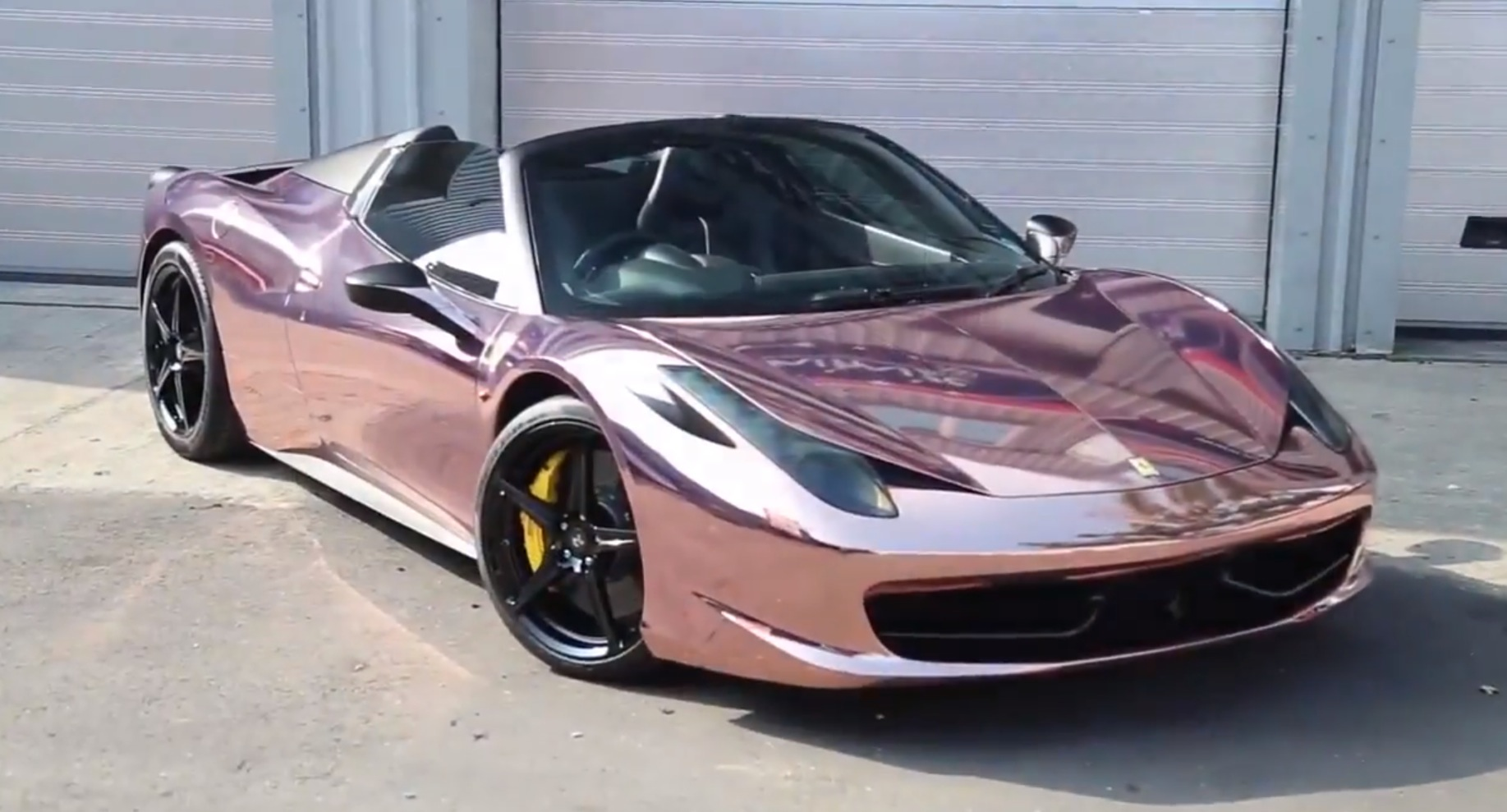 Rose Gold Ferrari 458 Spider With Titanium Exhaust Is A