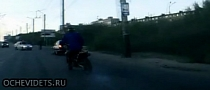 Runaway Biker Escapes Police, Crashes into Bus Station [Video]