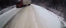 Russian 18-Wheeler Drifts Trailer Straight into Another Truck [Video]