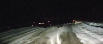 Russian 18-Wheeler Slides Trailer Around Corner - Narrowly Misses Oncoming Car [Video]