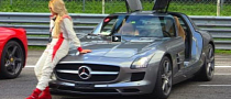 Russian Blond Girl Drives  Mercedes SLS on Track [Video]