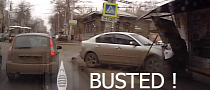 Russian Police Crashes Into a Bus Stop [Video]
