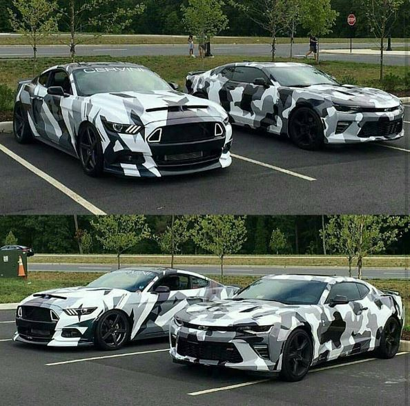 S550 Ford Mustang Sixth Gen Chevrolet Camaro Become Urban Camouflage Wrap Twins Autoevolution
