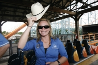 Sarah Fisher, during a visit to the Six Flags Over Texas in Arlington, Texas (2007)