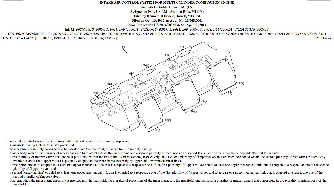 Scoop  Chrysler Files Patent For New Intake Air Control