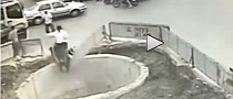 Scooter Rider Hits 4 Vehicles then Falls into Huge Pit [Video]