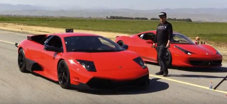 Screaming Lamborghini Murcielago Drag Races Ferrari 458 In Old