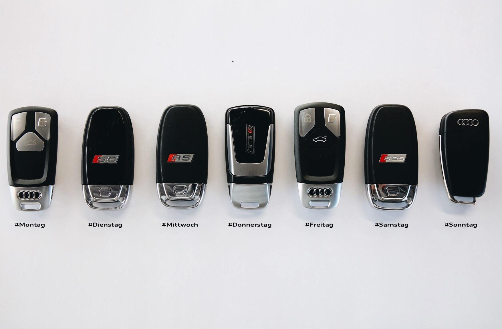 Seven Audi Car Keys One For Each Day Of The Week