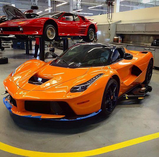 shocking orange laferrari shows up with purple carbon and purple wheels   autoevolution