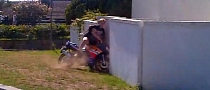 Silly Rider Throttles into a Concrete Wall [Video]