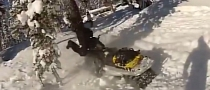 Silly Snowmobile Rider Uses Tree to Stop [Video]
