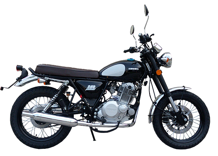 sinnis retrostar 250 is a budget chinese scrambler with. Black Bedroom Furniture Sets. Home Design Ideas