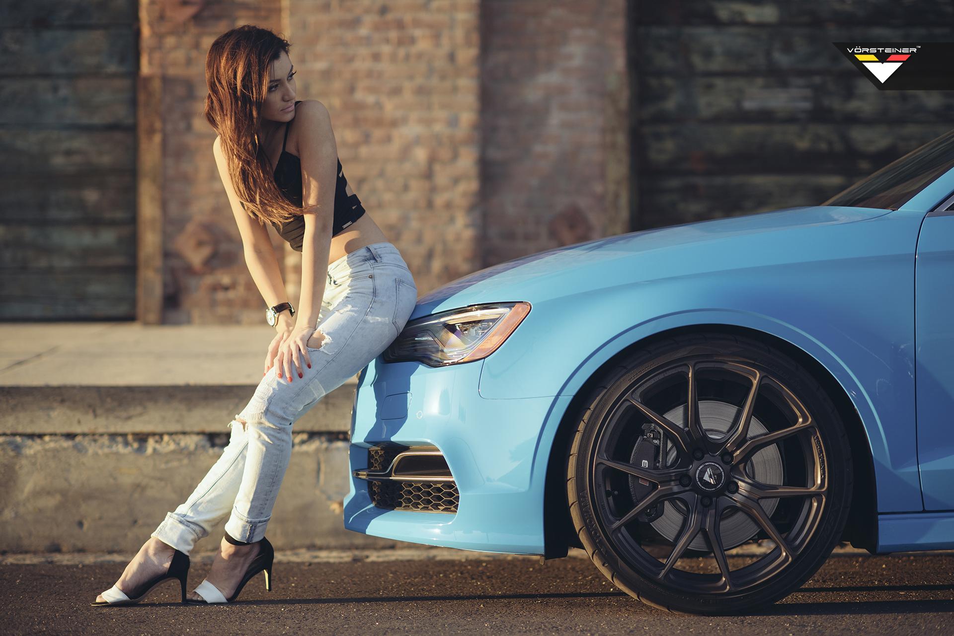 Sky Blue Audi S3 Sedan on Vorsteiner V-FF 103 Wheels in Car+Girl Shoot ...