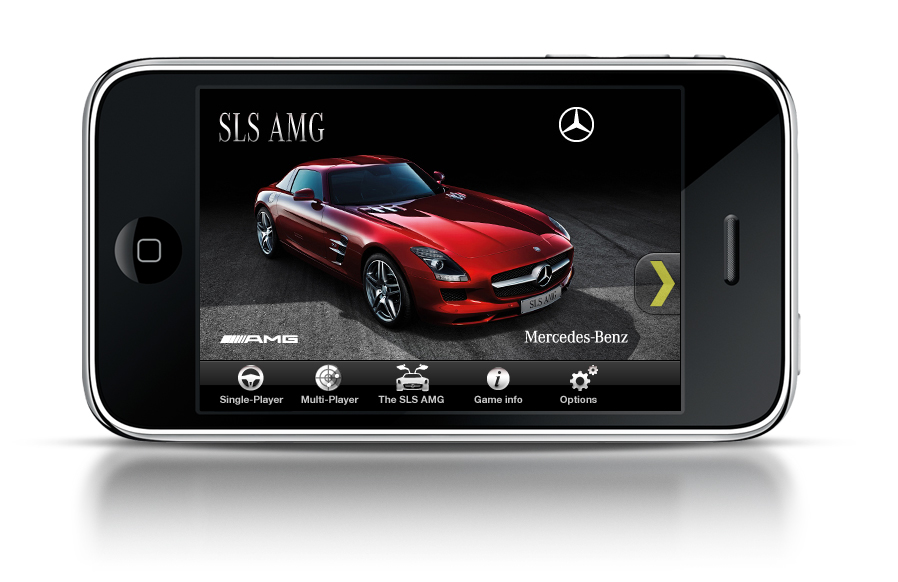 Sls amg gets promoted on iphone and facebook autoevolution for Mercedes benz app for iphone