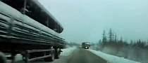 Snow and Bad Decisions Equal Very Close Call for Russian Driver [Video]