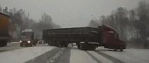 Snow-Covered Roads Cause Near-Crash With Truck [Video]