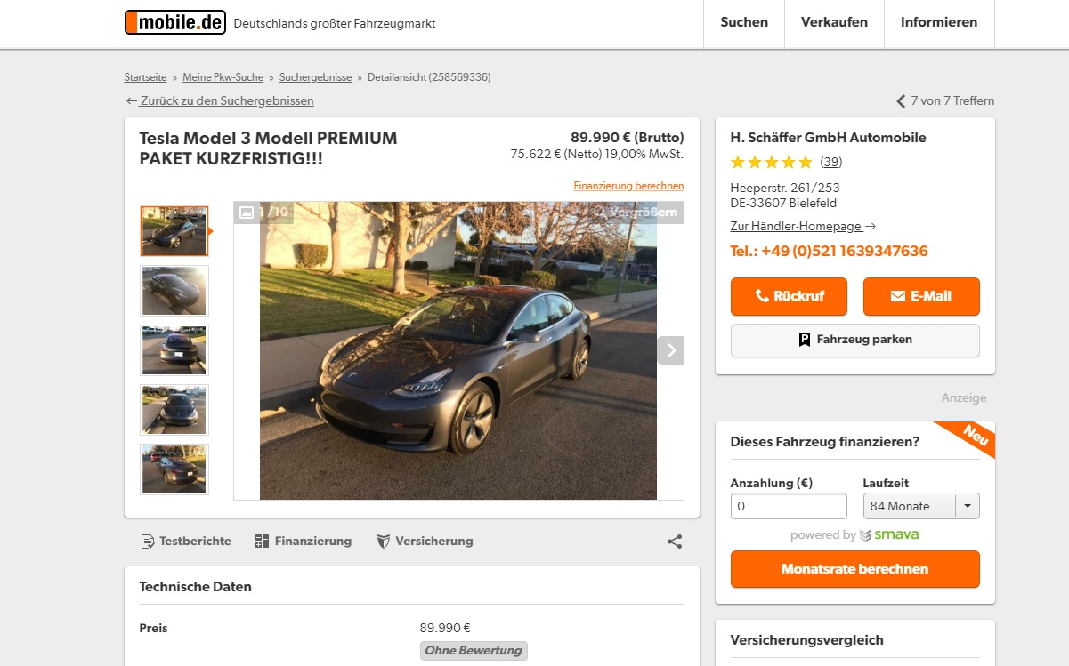 Speculation at Work: Tesla Model 3 Costs up to €89,990 in Europe