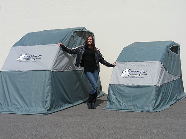 Speed way has a new deluxe trike shelter autoevolution - Motorcycle foldable garage tent cover ...