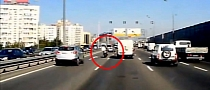 Speeding Bike Spectacularly Rear-Ending Van on Russian Highway [Video]