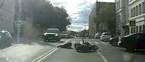 Speeding Biker Crashes Hard into Car Turning Left [Video]