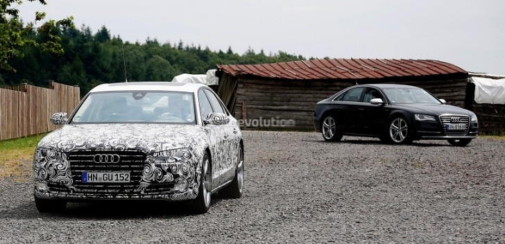 Spyshots: 2015 Audi A8 Facelift Spotted Alongside Current A8