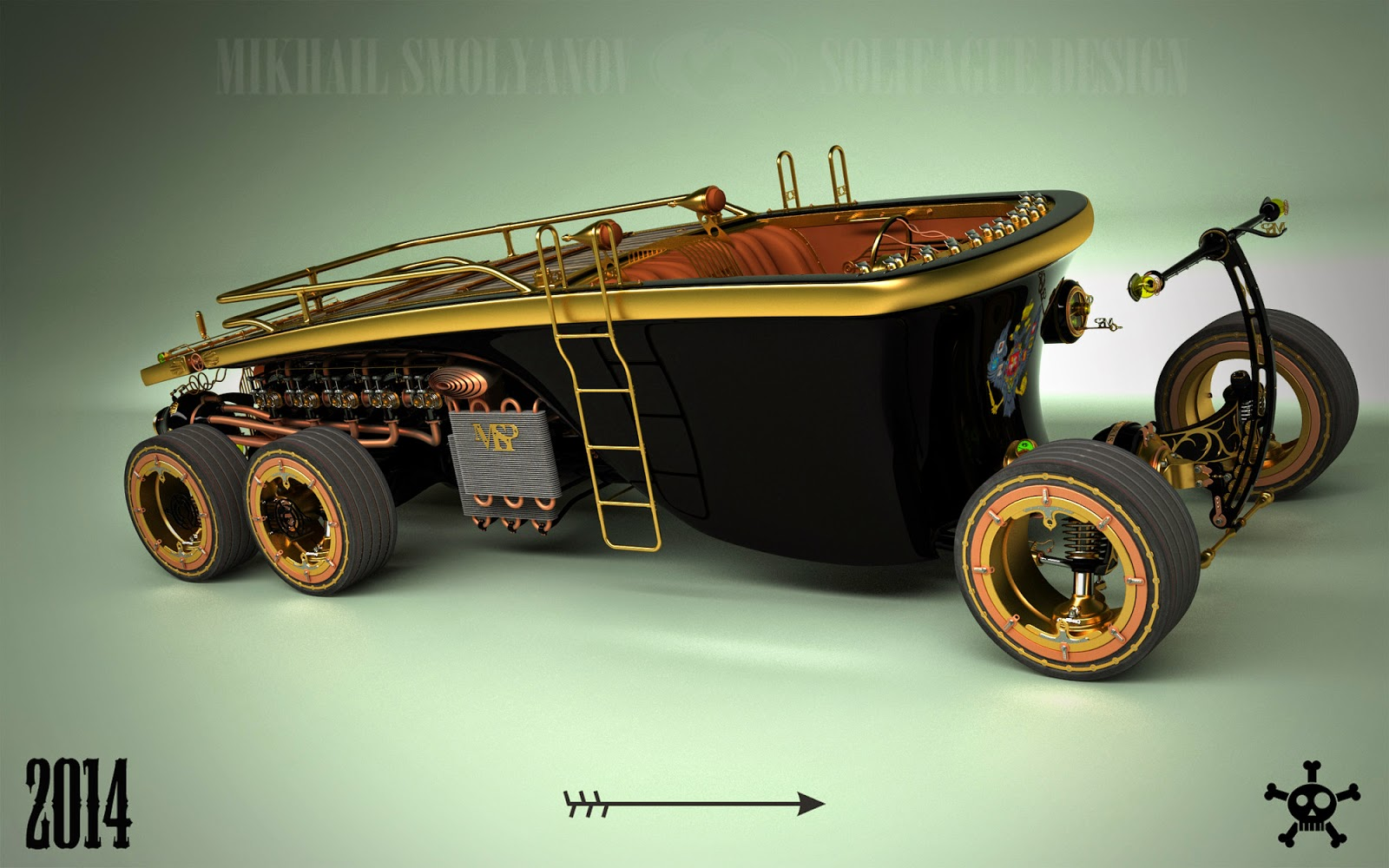 Steampunk 6 wheel land yacht is a car from the future past - Image Gallery Steampunk Car