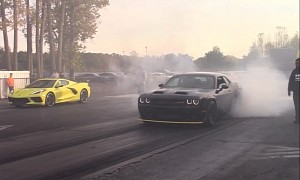 Stock C8 Corvette Drag Races Against Front-Engined V8 Muscle, Only Loses Once