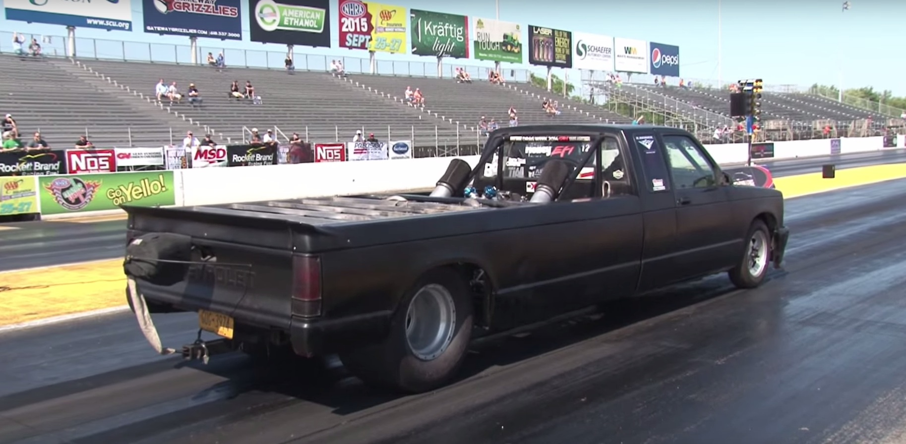 Stretched Chevy S10 Truck Has A Twin Turbo Big Block In Its Bed 9s Quarter Mile Video 100076 on drag race car parts