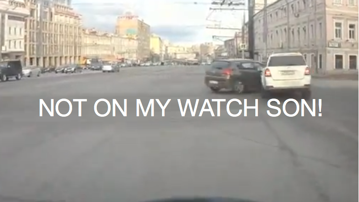 Stupid Russian Driver Gets Punished for Illegal Right Turn [Video]