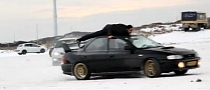 Subaru Impreza Drifting with Man on Roof [Video]