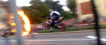 Superbike Jumps through Ring of Fire [Video]