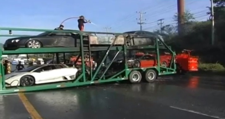 Supercar Trailer Catches Fire in Thailand [Video]